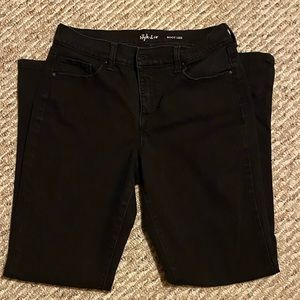 Black high waste jeans boot leg short